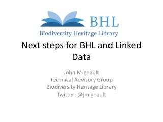 Next steps for BHL and Linked Data