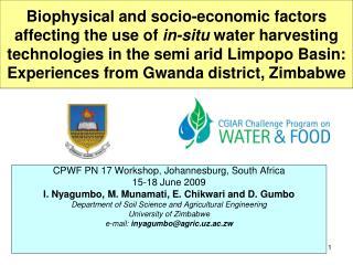 CPWF PN 17 Workshop, Johannesburg, South Africa 15-18 June 2009