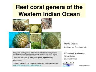 Reef coral genera of the Western Indian Ocean