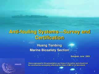 Anti-fouling Systems Survey and  Certification