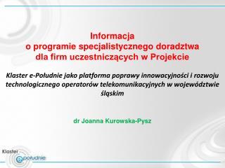 Informacja  o programie specjalistycznego doradztwa  dla firm uczestniczących w Projekcie