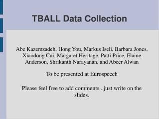 TBALL Data Collection