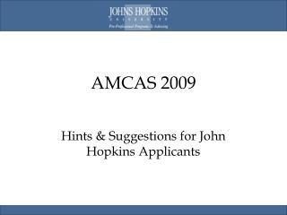 AMCAS 2009