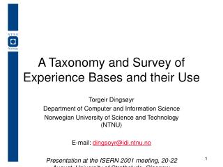 A Taxonomy and Survey of Experience Bases and their Use