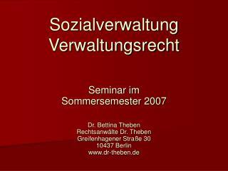 Sozialverwaltung  Verwaltungsrecht