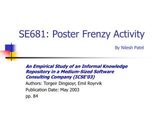 SE681: Poster Frenzy Activity By Nilesh Patel