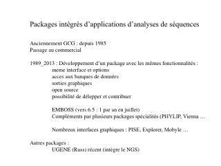 Packages intégrés d'applications d'analyses de séquences