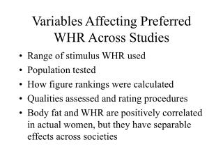 Variables Affecting Preferred WHR Across Studies
