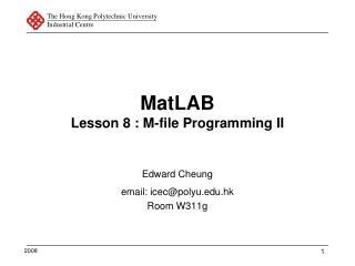 MatLAB Lesson 8 : M-file Programming II