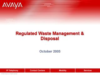 Regulated Waste Management & Disposal
