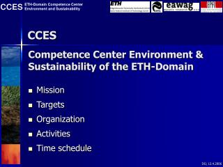 Competence Center Environment & Sustainability of the ETH-Domain
