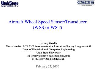 Aircraft Wheel Speed Sensor/Transducer (WSS or WST)
