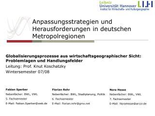 Anpassungsstrategien und Herausforderungen in deutschen  Metropolregionen