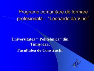 Program e comunitare de formare profesional? -  �Leonardo da Vinci �