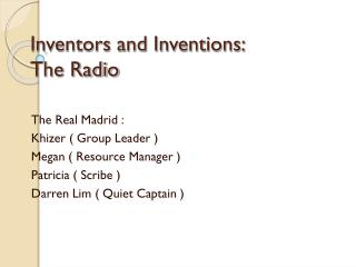 Inventors and Inventions: The Radio