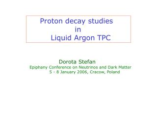 Proton decay studies   			in  	   Liquid Argon TPC