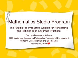 Mathematics Studio Program