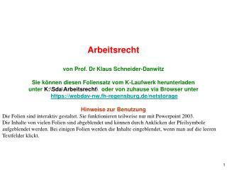 Arbeitsrecht von Prof. Dr Klaus Schneider-Danwitz