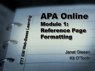 APA Online Module 1:  Reference Page Formatting