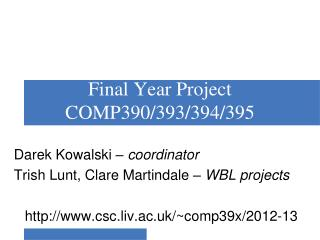 Final Year Project COMP390/393/394/395