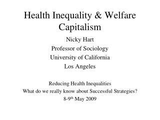 Health Inequality & Welfare Capitalism