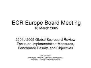 ECR Europe Board Meeting 18 March 2005