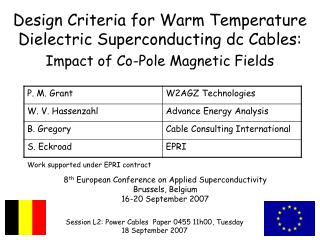 Design Criteria for Warm Temperature Dielectric Superconducting dc Cables: