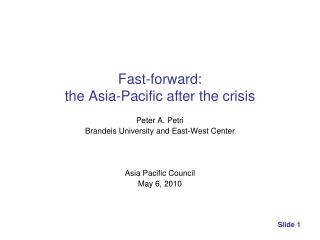 Fast-forward:  the Asia-Pacific after the crisis