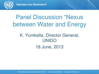 Panel Discussion �Nexus between Water and Energy