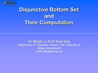 Disjunctive Bottom Set  and  Their Computation