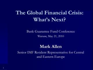 The Global Financial Crisis: What's Next?