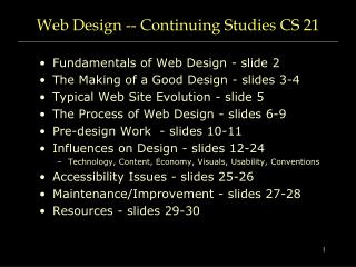 Web Design -- Continuing Studies CS 21