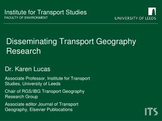 Disseminating Transport Geography Research