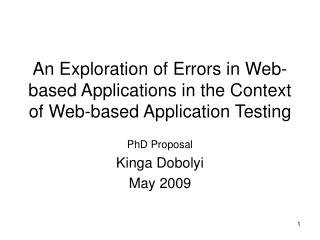 An Exploration of Errors in Web-based Applications in the Context of Web-based Application Testing