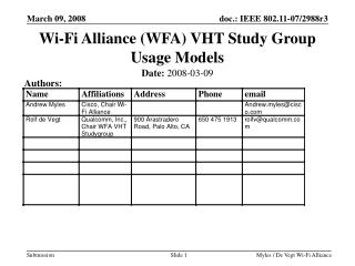 Wi-Fi Alliance (WFA) VHT Study Group Usage Models