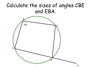 Calculate the sizes of angles CBE and EBA.
