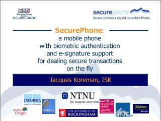 IST-2002-506883 Secure contracts signed by mobile Phone