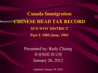 Canada Immigration CHINESE HEAD TAX RECORD SUN WOY DISTRICT  Part I: 1885-June, 1903