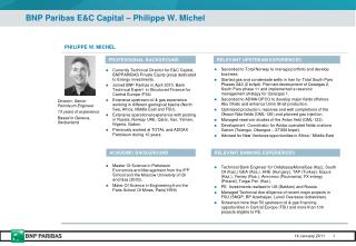 BNP Paribas E&C Capital � Philippe W. Michel