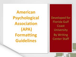 American Psychological Association  APA  Formatting Guidelines