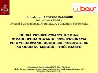 dr hab. inż. ANDRZEJ ZALEWSKI Politechnika Łódzka