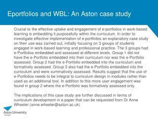 Eportfolios and WBL: An Aston case study