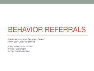 Behavior Referrals