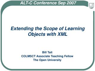 Extending the Scope of Learning Objects with XML