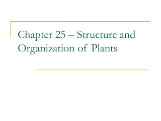 Chapter 25   Structure and Organization of Plants