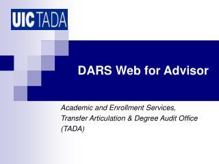 DARS Web for Advisor