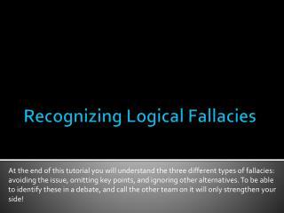Recognizing Logical Fallacies