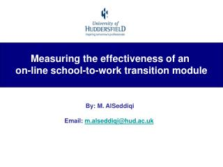 Measuring the effectiveness of an  on-line school-to-work transition module