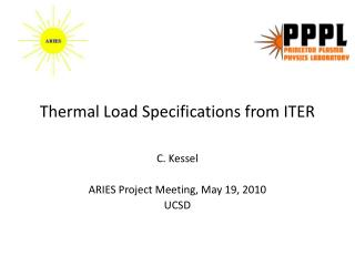 Thermal Load Specifications from ITER