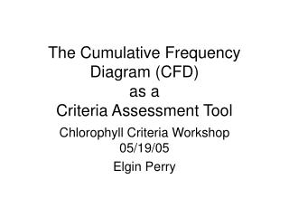 The Cumulative Frequency Diagram (CFD) as a    Criteria Assessment Tool